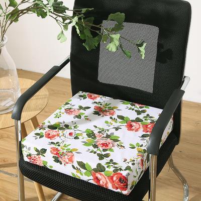 45D全棉帆布高密度加硬海绵坐垫椅垫可拆洗双面印花支持定做 30*40*5cm 透明 白底花