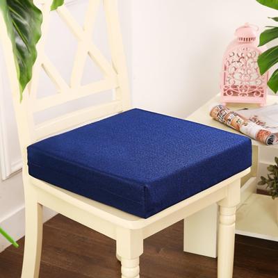 45D加厚亚麻高密度加硬海绵坐垫椅垫可拆洗双面简约支持定做 30*40*5cm 宝蓝