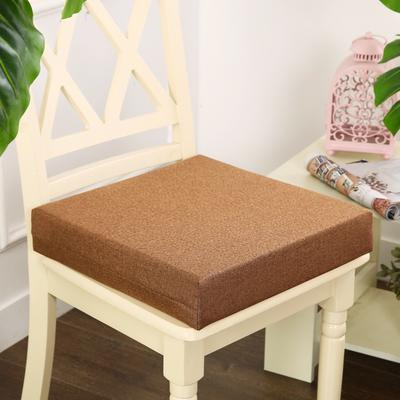 45D加厚亚麻高密度加硬海绵坐垫椅垫可拆洗双面简约支持定做 30*40*5cm 金咖