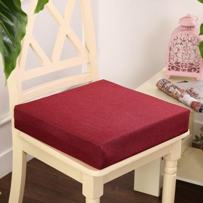 45D加厚亚麻高密度加硬海绵坐垫椅垫可拆洗双面简约支持定做 30*40*5cm 酒红