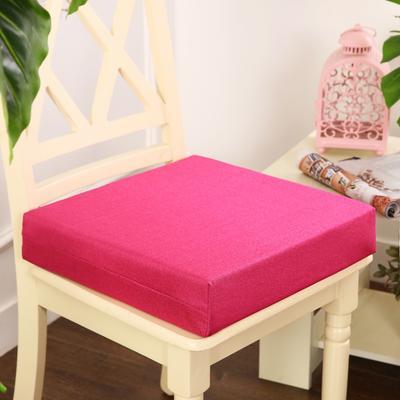 45D加厚亚麻高密度加硬海绵坐垫椅垫可拆洗双面简约支持定做 30*40*5cm 玫红