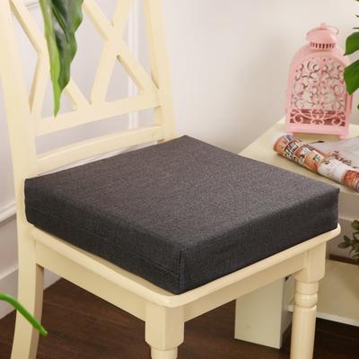 45D加厚亚麻高密度加硬海绵坐垫椅垫可拆洗双面简约支持定做 30*40*5cm 深灰