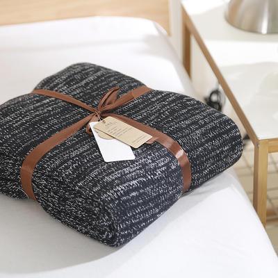 2019新款鱼骨纹针织毯 120*180 黑+白