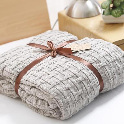 2019新款砖纹针织毯 120*180 浅灰