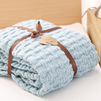 2019新款砖纹针织毯 120*180 蓝色