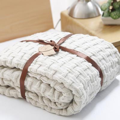 2019新款砖纹针织毯 120*180 米色