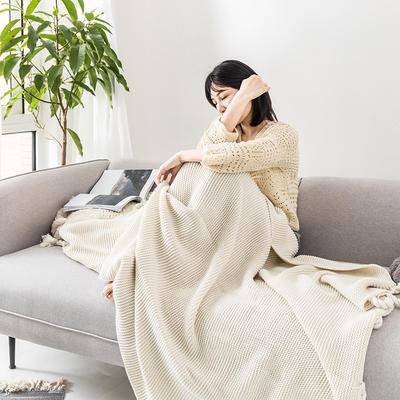 2019新款三针流苏毯 130*170 白色