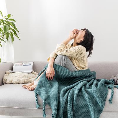 2019新款三针流苏毯 130*170 绿色