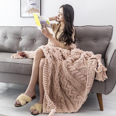 2019新款手工麻花毯 130×160 粉色
