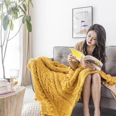 2019新款手工麻花毯 130×160 黄色