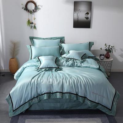 2019新款全棉水洗真丝套件 1.8m(6英尺)床 抹茶绿
