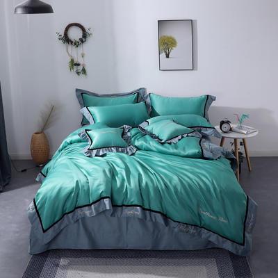 2019新款全棉水洗真丝套件 1.8m(6英尺)床 水光蓝