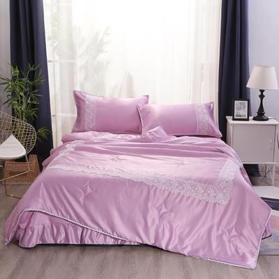 2019新款水洗真丝夏被枕套冰丝凉席床单四件套 1.8m(6英尺)床 初夏-魅力紫