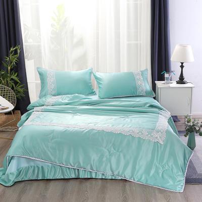2019新款水洗真丝夏被枕套冰丝凉席床单四件套 1.8m(6英尺)床 初夏-水波绿