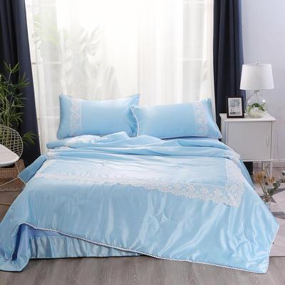 2019新款水洗真丝夏被枕套冰丝凉席床单四件套 1.8m(6英尺)床 初夏-天空蓝
