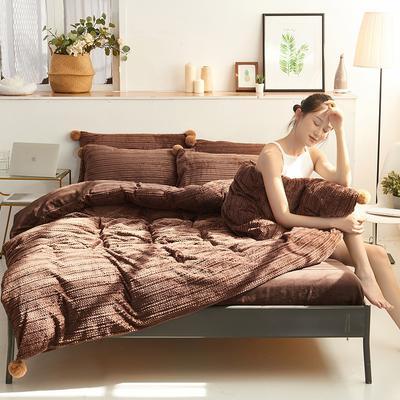 2019新款高档兰泊绒针织四件套 1.8m(6英尺)床 咖啡