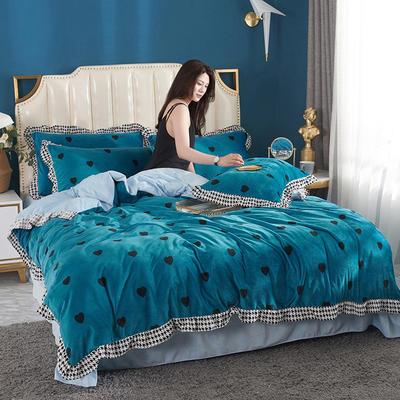 2019新款韩版带边水晶绒印花加厚四件套 1.5m(5英尺)床 宝石蓝