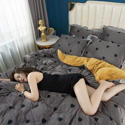 2019新款韩版带边水晶绒印花加厚四件套 1.5m(5英尺)床 深灰