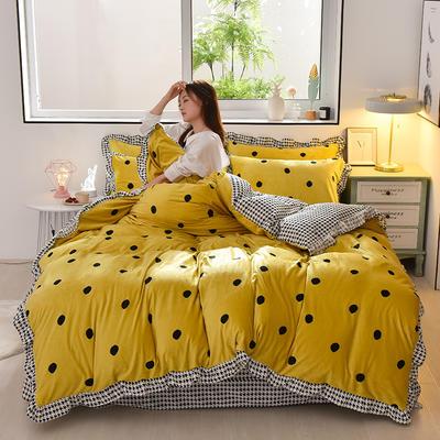 2019新款韩版带边水晶绒印花加厚四件套 1.5m(5英尺)床 波点黄