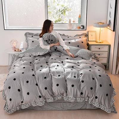 2019新款韩版带边水晶绒印花加厚四件套 1.5m(5英尺)床 波点灰