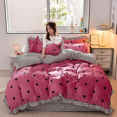 2019新款韩版带边水晶绒印花加厚四件套 1.5m(5英尺)床 波点玫红色