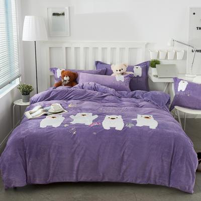 2019新款加厚贴布绣舒适牛奶绒四件套 1.5m(5英尺)床 香蜜紫
