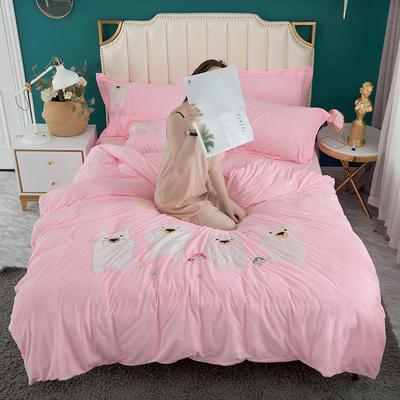 2019新款加厚贴布绣舒适牛奶绒四件套 1.5m(5英尺)床 樱花粉