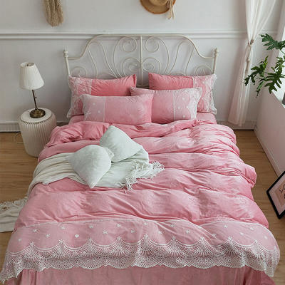 2019新款压花绒蕾丝四件套 2.0m(6.6英尺)床 逆光 粉色