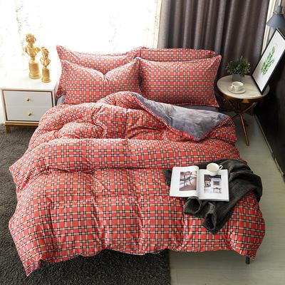 2019新款高克重宝宝绒四件套 1.5m(5英尺)床 品格-橘红