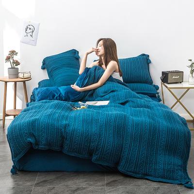 2019新款新款针织毛线四件套 1.8m(6英尺)床 针织-宝蓝