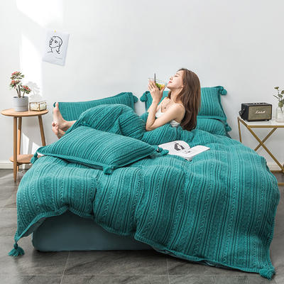 2019新款新款针织毛线四件套 1.8m(6英尺)床 针织-翠绿