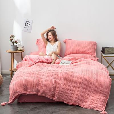 2019新款新款针织毛线四件套 1.8m(6英尺)床 针织-粉玉