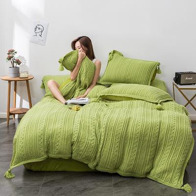 2019新款新款针织毛线四件套 1.8m(6英尺)床 针织-果绿