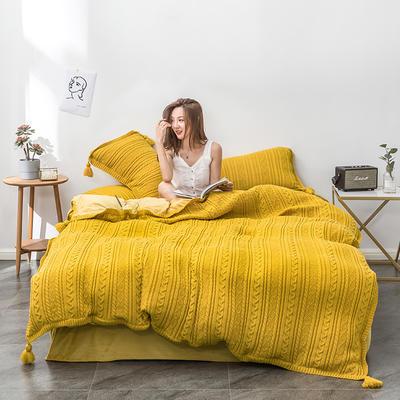 2019新款新款针织毛线四件套 1.8m(6英尺)床 针织-姜黄