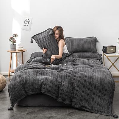 2019新款新款针织毛线四件套 1.8m(6英尺)床 针织-深灰