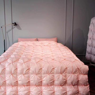 2019新款80柔赛丝扭花系列 150x200cm 95白鹅绒-粉
