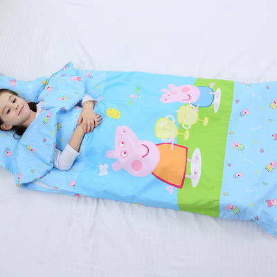 2019新全棉133x72卡通防踢被婴童儿童睡袋65*100cm 机智佩奇(棉花厚)