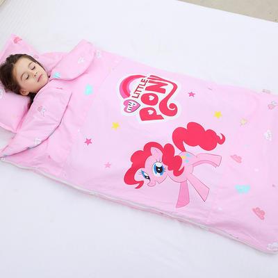 2019新全棉133x72卡通防踢被婴童儿童睡袋100*180cm 小马碧奇(丝绵双胆)