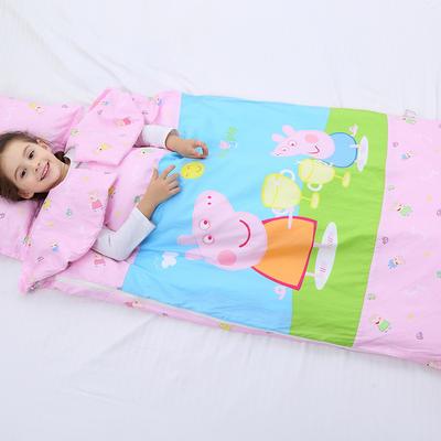 2019新全棉加里布宝宝绒系列卡通防踢被婴童儿童睡袋90*150cm 公主佩奇(丝绵双胆)