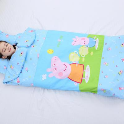 2019新全棉加里布宝宝绒系列卡通防踢被婴童儿童睡袋90*150cm 机智佩奇(棉花薄)
