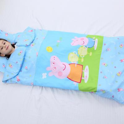2019新全棉加里布宝宝绒系列卡通防踢被婴童儿童睡袋90*150cm 机智佩奇(棉花厚)