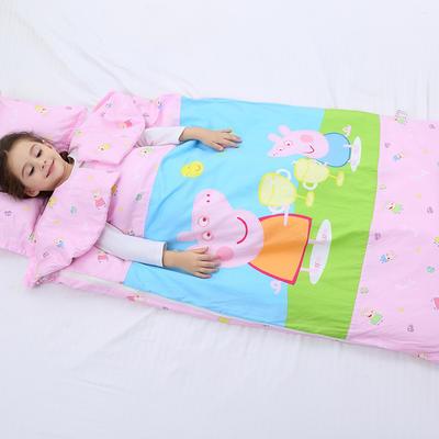 2019新全棉加里布宝宝绒系列卡通防踢被婴童儿童睡袋90*150cm 公主佩奇(棉花双胆)