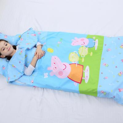 2019新全棉加里布宝宝绒系列卡通防踢被婴童儿童睡袋90*150cm 机智佩奇(棉花双胆)