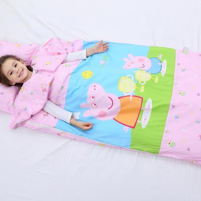 2019新全棉加里布宝宝绒系列卡通防踢被婴童儿童睡袋100*180cm 公主佩奇(丝绵双胆)