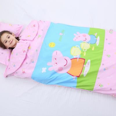 2019新全棉加里布宝宝绒系列卡通防踢被婴童儿童睡袋100*180cm 公主佩奇(棉花双胆)
