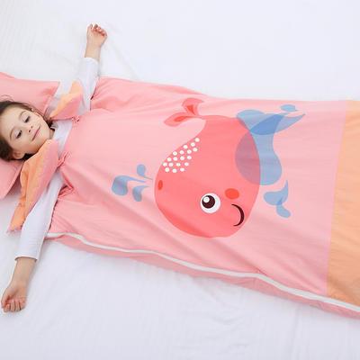 2019新水洗棉大版卡通防踢被婴童儿童睡袋65*100cm 可爱鲸鱼(棉花厚)