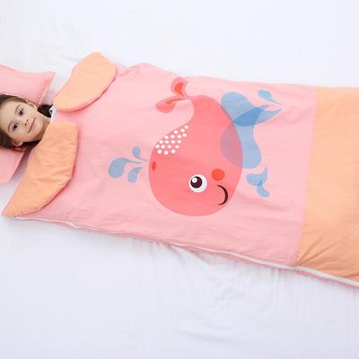 2019新水洗棉大版卡通防踢被婴童儿童睡袋75*120cm 可爱鲸鱼(丝绵厚)