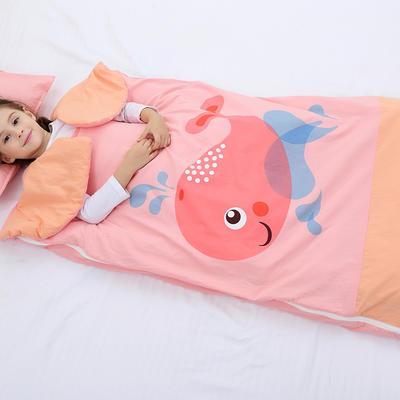 2019新水洗棉大版卡通防踢被婴童儿童睡袋100*180cm 可爱鲸鱼(单套)