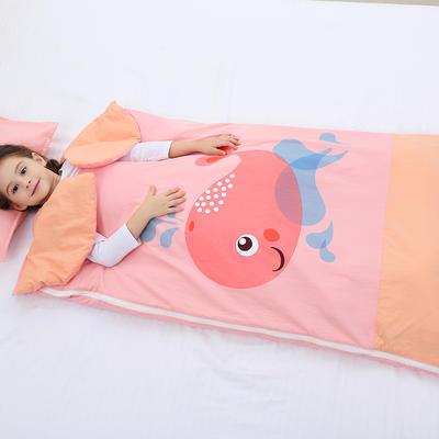 2019新水洗棉大版卡通防踢被婴童儿童睡袋100*180cm 可爱鲸鱼(棉花薄)