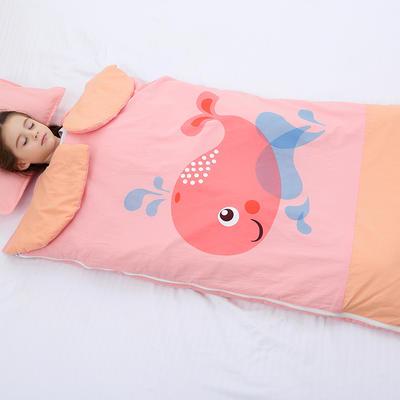 2019新水洗棉大版卡通防踢被婴童儿童睡袋100*180cm 可爱鲸鱼(棉花厚)